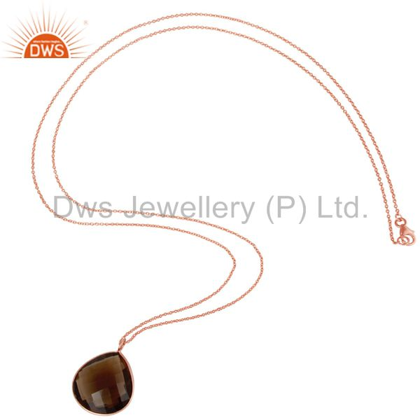 Suppliers 18K Rose Gold Plated Sterling Silver Smoky Quartz Bezel Set Pendant With Chain