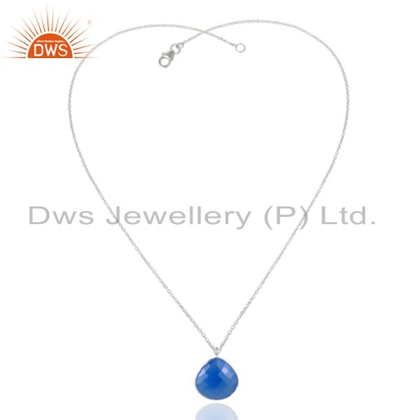 Exporter 925 Sterling Silver Blue Chalcedony Gemstone Bezel Set Pendant With Chain