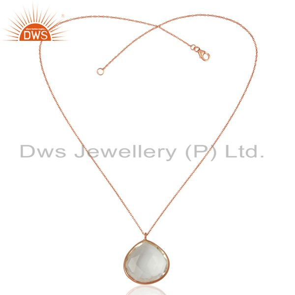 Suppliers Rose Gold Plated Sterling Silver Crystal Quartz Bezel Set Pendant W/ Chain