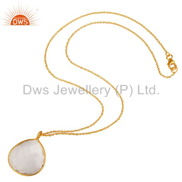 Suppliers 18K Yellow Gold Plated Sterling Silver Crystal Quartz Bezel Set Pendant W/ Chain