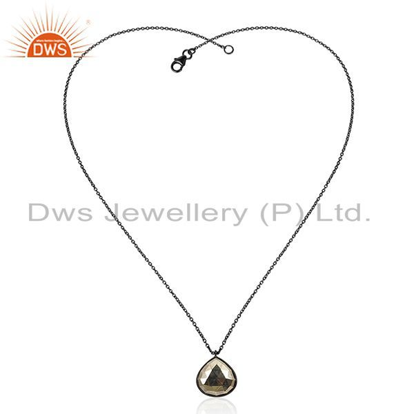 Exporter Black Oxidized 925 Sterling Silver Handmade Hematite Chain Pendant Necklace