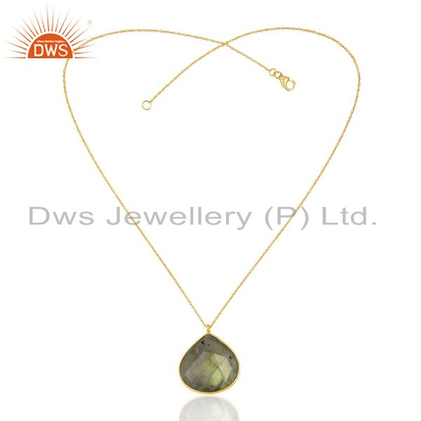 Exporter 18K Yellow Gold Plated Sterling Silver Labradorite Bezel Set Pendant With Chain