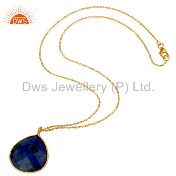 Suppliers 18K Yellow Gold Plated Sterling Silver Faceted Lapis Lazuli Pendant With Chain