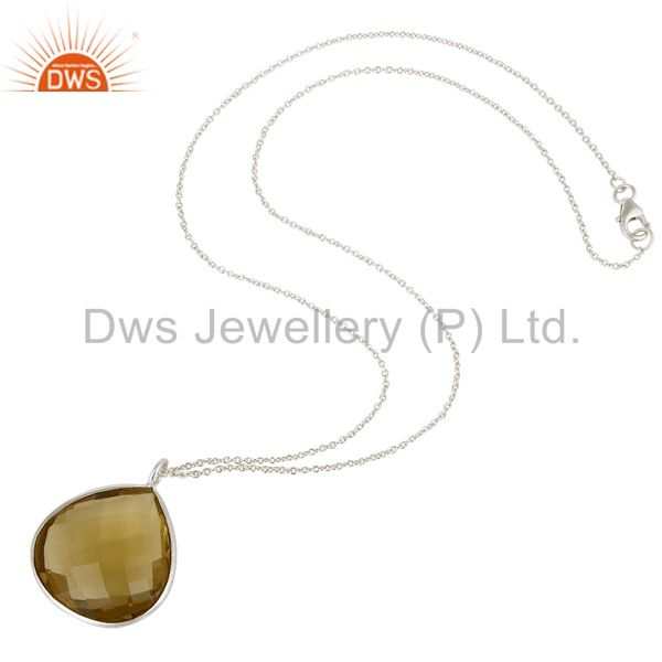 Suppliers Sterling Silver and Lemon Topaz Gemstone Bezel Set Simple Handmade Necklace