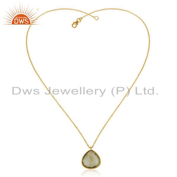 Exporter Lemon Topaz Gemstone Gold Plated 925 Silver Chain Pendant Manufacturer