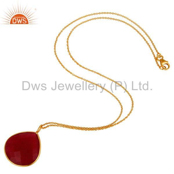 Suppliers 18K Gold Plated Sterling Silver Red Aventurine Bezel Set Drop Pendant With Chain