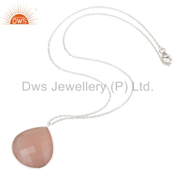 Suppliers Solid 925 Sterling Silver Chalcedony Gemstone Bezel Set Pendant With Chain