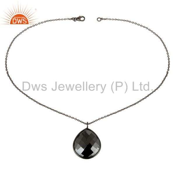 Suppliers Black Oxidized 925 Sterling Silver Handmade Hematite Chain Pendant Necklace