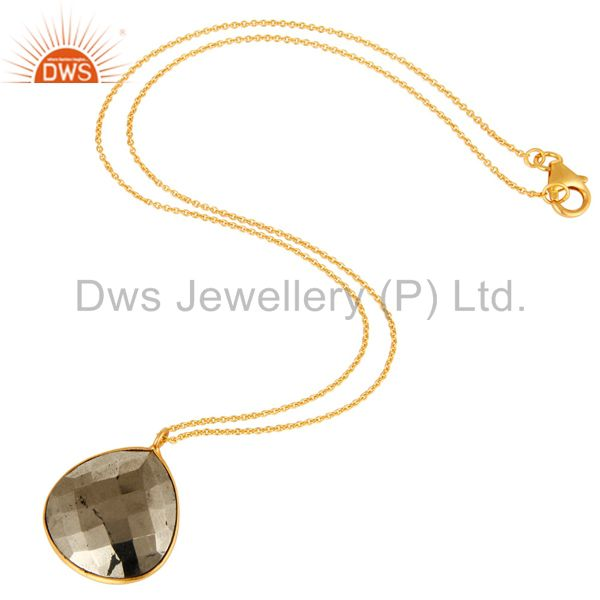 Exporter 18K Yellow Gold Over Sterling Silver Golden Pyrite Bezel Set Pendant With Chain