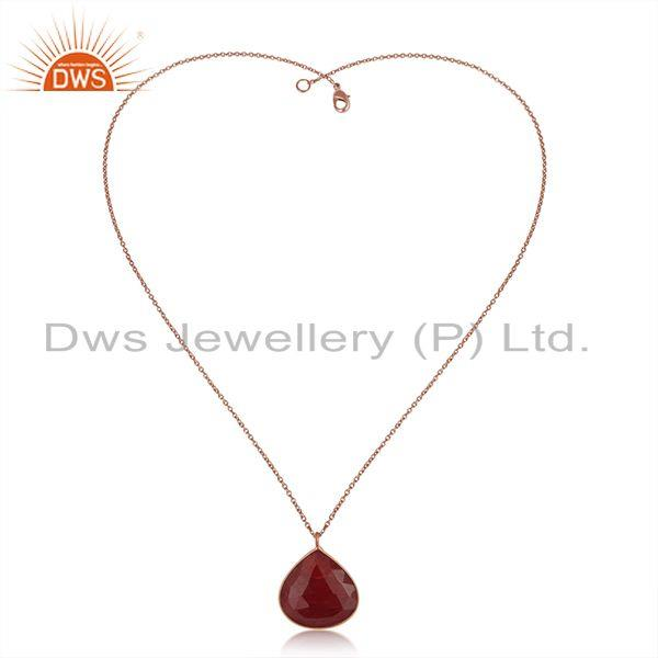 Exporter Dyed Ruby Gemstone Rose Gold Plated Sterling Silver Chain Pendant Wholesaler