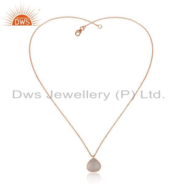 Exporter Rose Quartz Gemstone Rose Gold Plated Silver Chain Pendant Jewelry