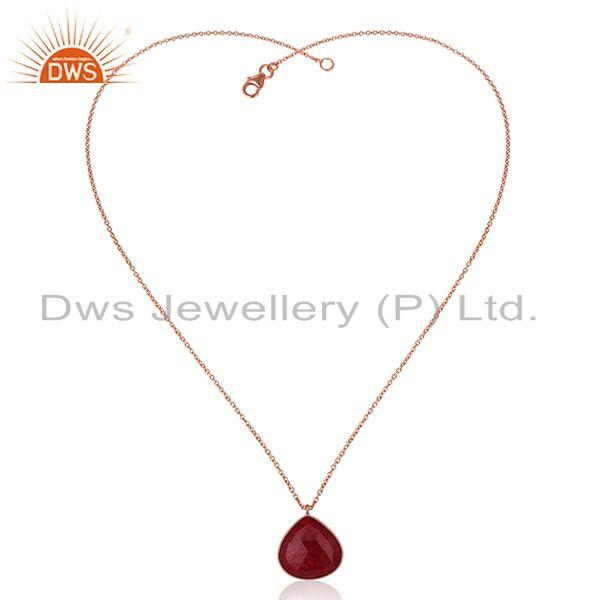 Exporter Rose Gold Plated 925 Silver Ruby Corundum Gemstone Pendant With Chain Jewelry