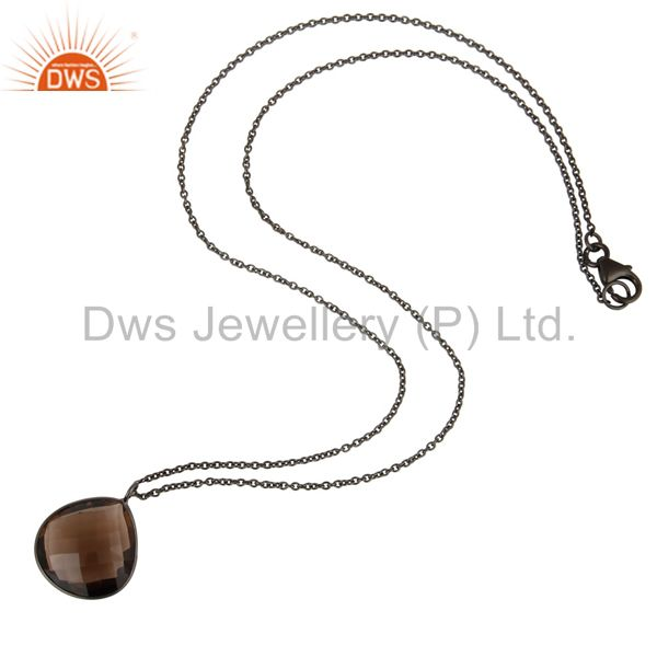 Exporter Black Oxidized 925 Sterling Silver Faceted Smokey Topaz Chain Pendant Necklace