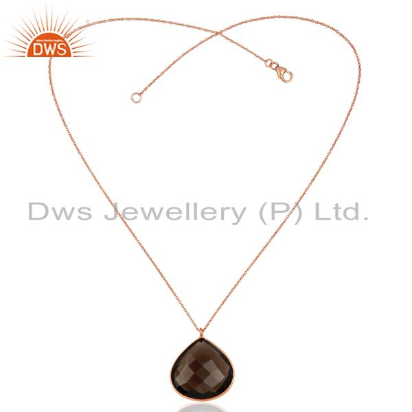Exporter Rose Gold Plated Silver Smoky Quartz Gemston Pendant Jewelry Supplier