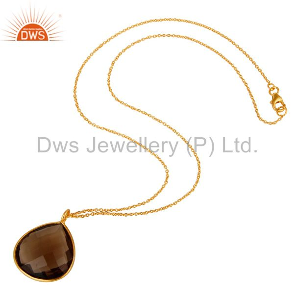 Suppliers Smoky Quartz Drop 18K Yellow Gold Plated 925 Sterling Silver Chain Pendant