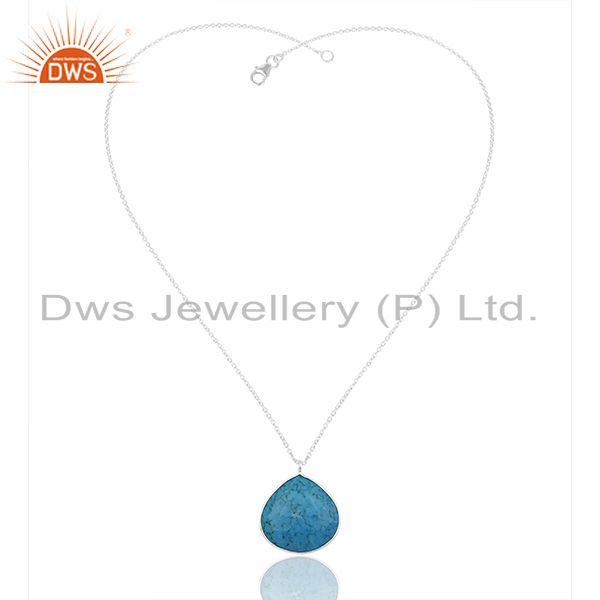 Exporter Turquoise Gemstone 925 Silver Fine Silver Chain Pendant Wholesale