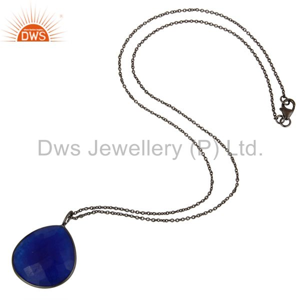 Suppliers Oxidized Sterling Silver Blue Aventurine Bezel Set Pendant With Chain