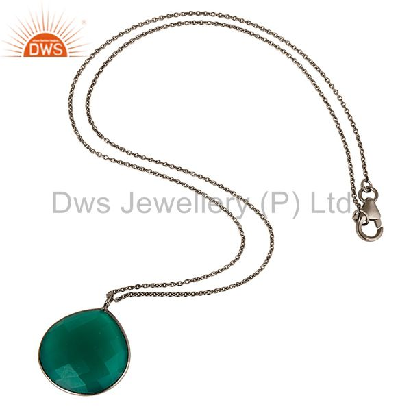 Exporter Black Rhodium Plated Sterling Silver Green Onyx Bezel Set Drop Pendant With Chai