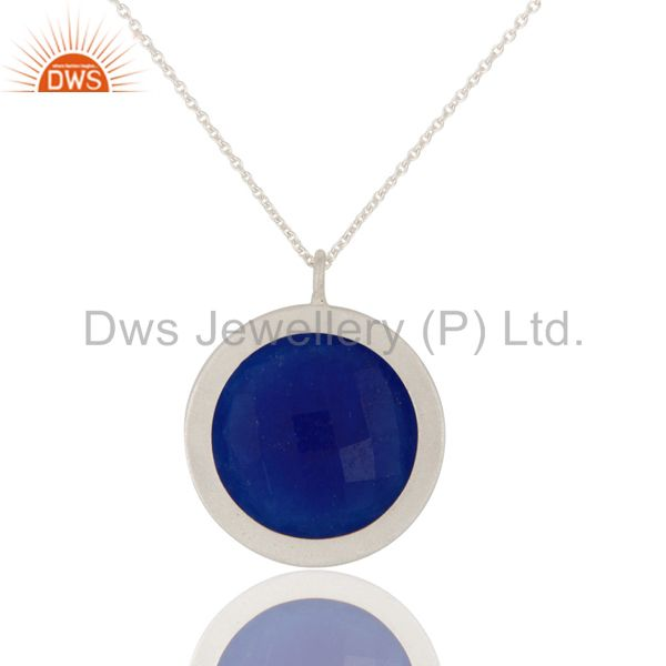 Suppliers 925 Sterling Silver Blue Aventurine Bnd Blue Topaz Gemstone Pendant With Chain