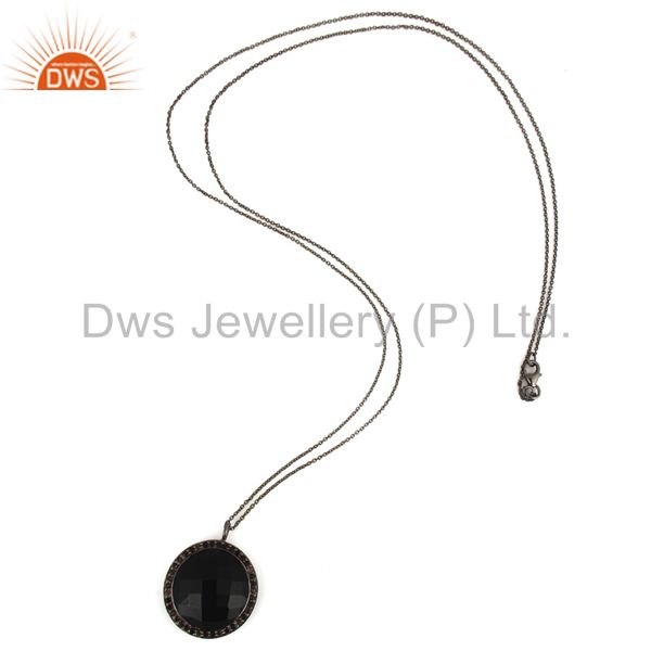 Wholesalers Oxidized Sterling Silver Black Onyx And Smoky Quartz Pendant With Chain
