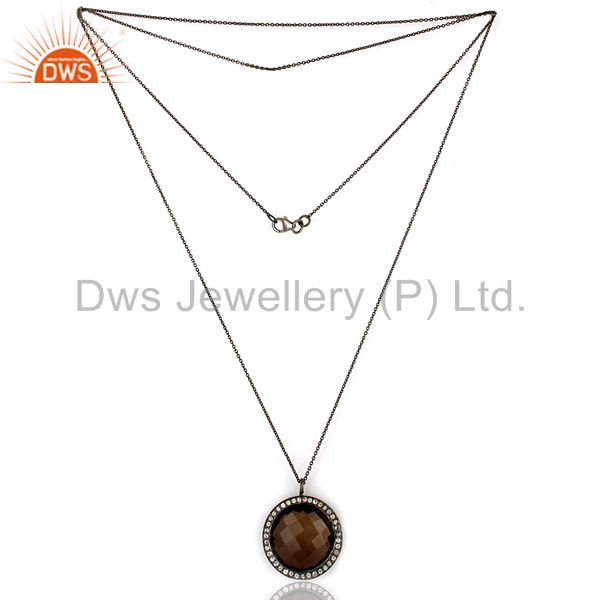 Suppliers Black Rhodium Plated Sterling Silver Smoky Quartz & White Topaz Pendant Chain