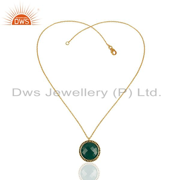Exporter 18K Yellow Gold Plated Silver Green Onyx And Smoky Quartz Pendant With Chain