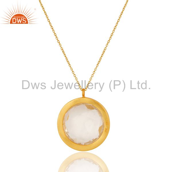 Wholesalers 18k Gold Plated Silver White Topaz & Quartz Halo Pendant With Chain