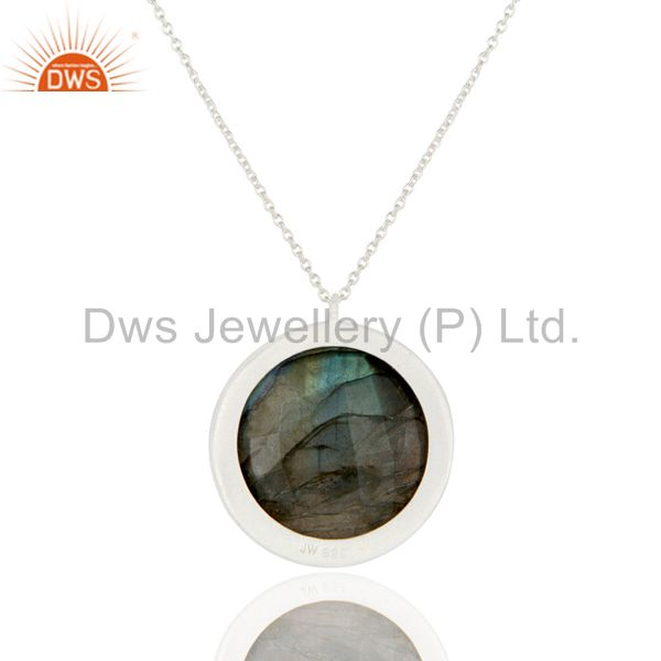 Wholesalers 925 Sterling Silver Labradorite And White Topaz Halo Style Pendant With Chain