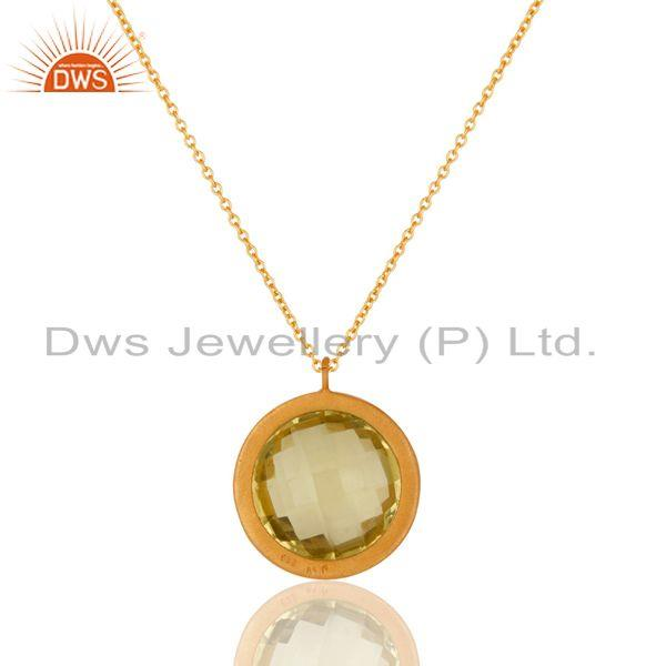 Wholesalers Lemon Topaz and White Topaz 18K Gold Plated Sterling Silver Pendant Necklace