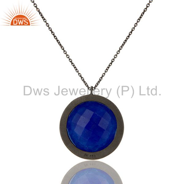 Wholesalers Sterling Silver With Oxidized Blue Aventurine And White Topaz Pendant With Chain