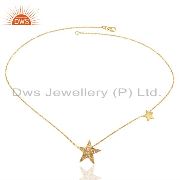 Exporter 18K Yellow Gold Plated Sterling Silver White Topaz Star Charms Chain Necklace
