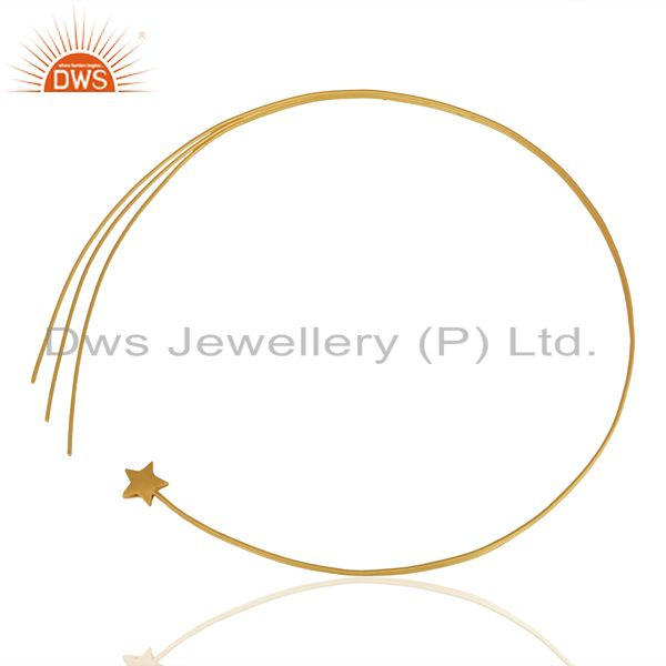Exporter 22K Yellow Gold Plated Sterling Silver Circle Pendant With Chain Necklace