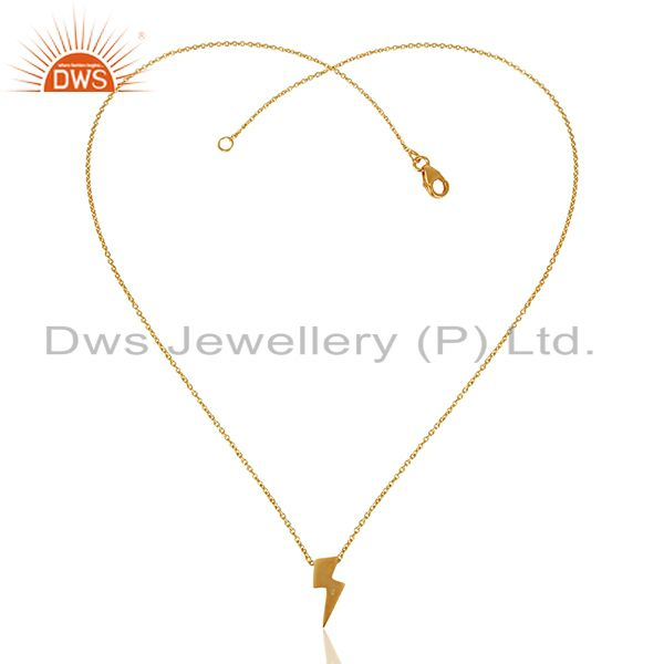 Exporter 22K Yellow Gold Plated Sterling Silver Pendant With Chain Necklace