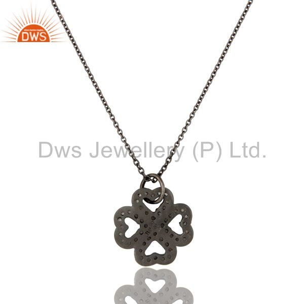 Exporter 925 Sterling Silver With Oxidized White Topaz Heart Designer Pendant With Chain