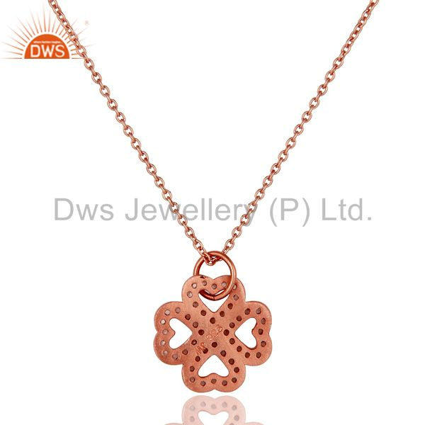 Exporter 18K Rose Gold Plated Sterling Silver White Topaz Pendant With Chain Necklace