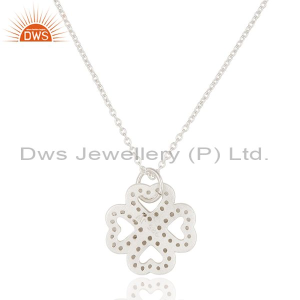 Exporter 925 Sterling Silver White Topaz Heart Designer Pendant With Chain Necklace