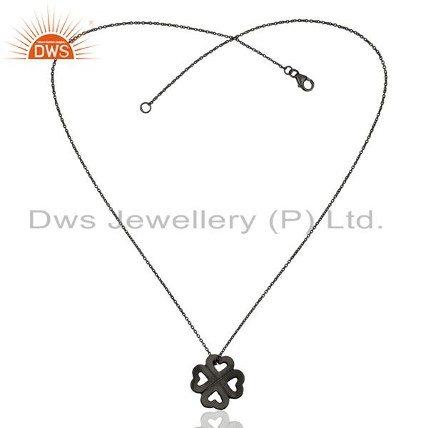 Exporter Handmade 925 Sterling Silver Oxidized Heart Design Pendant With Chain Necklace