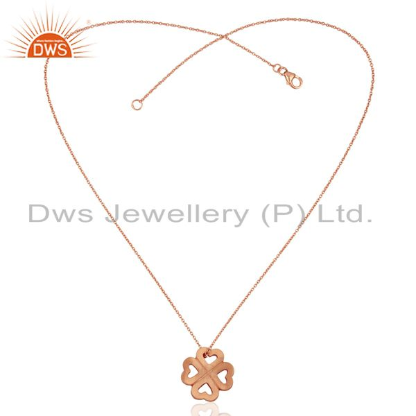 Exporter 18K Rose Gold Plated Sterling Silver Heart Design Pendant With Chain Necklace