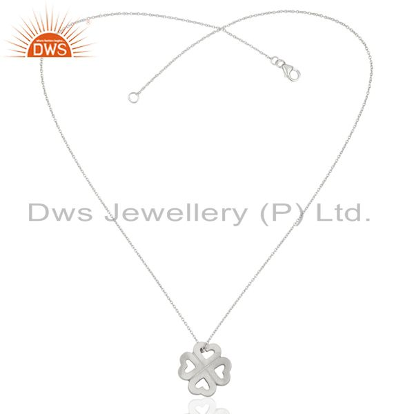 Exporter Handmade 925 Sterling Silver Heart Design Pendant With Chain Necklace