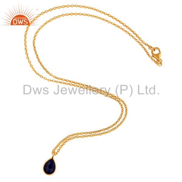 Suppliers 18K Yellow Gold Plated Sterling Silver Blue Corundum Bezel Pendant With Chain