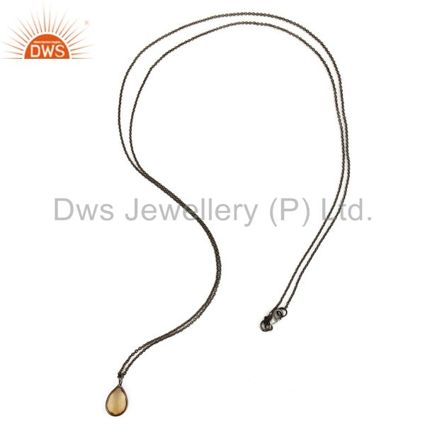 Exporter Black Rhodium Plated Sterling Silver Citrine Gemstone Pendant With Chain
