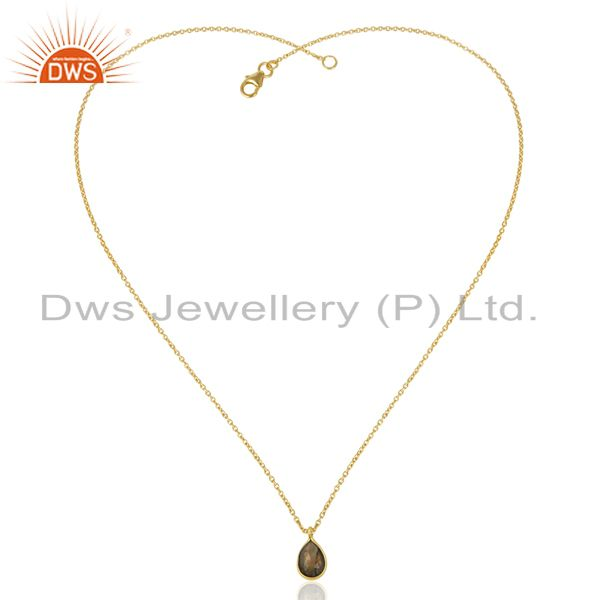 Exporter 18K Gold Plated Sterling Silver Labradorite Bezel Set Drop Pendant With Chain
