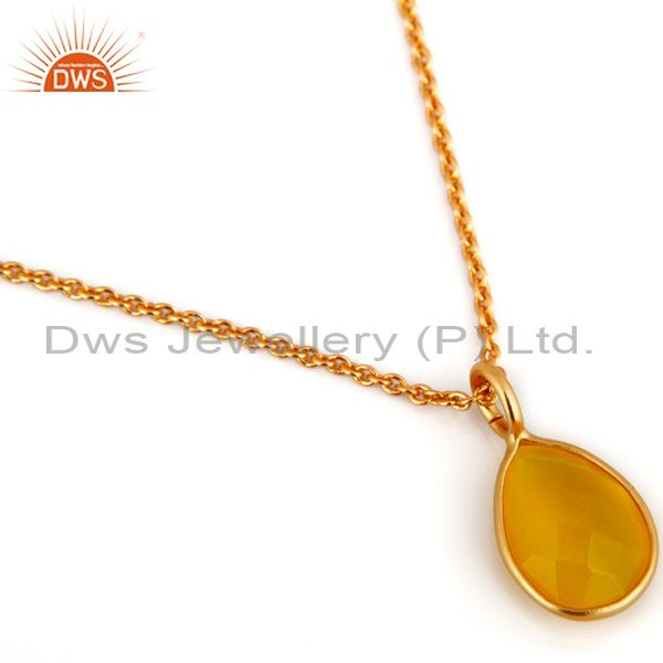 Exporter 18K Gold Plated Sterling Silver Yellow Moonstone Bezel Set Pendant Necklace