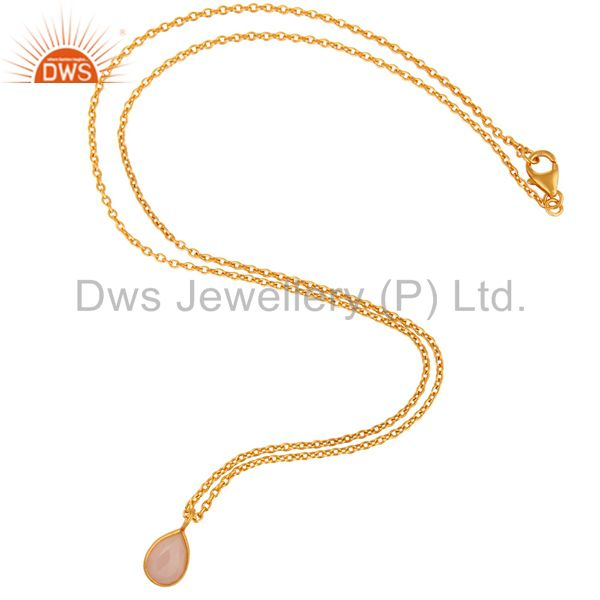 Exporter 18K Yellow Gold Plated Sterling Silver Rose Chalcedony Bezel Set Pendant Chain