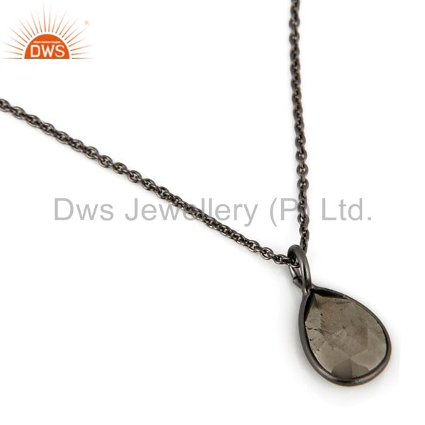 Exporter Black Rhodium Plated Sterling Silver Pyrite Bezel Set Pendant With Chain