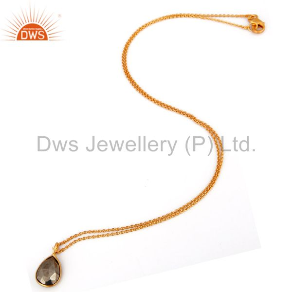 Exporter 18K Gold Plated Sterling Silver GOlden Pyrite Bezel Set Pendant With Chain