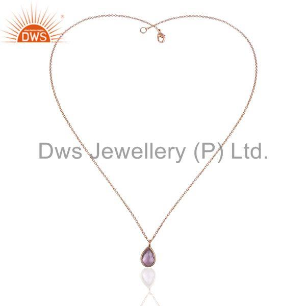 Exporter Amethyst Gemstone 925 Silver Rose Gold Plated Chain Pendant Wholesale