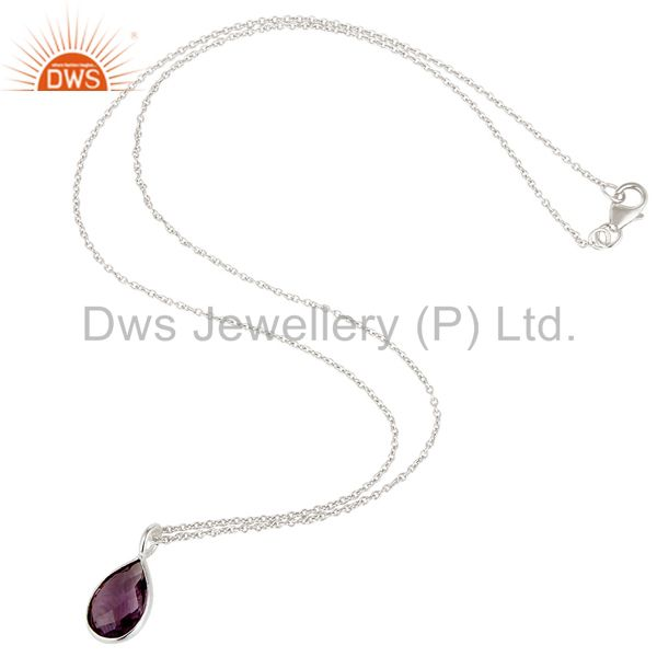 Suppliers Solid Steling Silver Handmade Fashion Pear Style Amethyst Chain Pendant Necklace