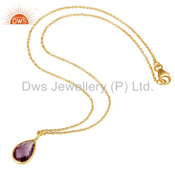 Suppliers 18K Yellow Gold Plated Sterling Silver Amethyst Bezel Drop Pendant With Chain