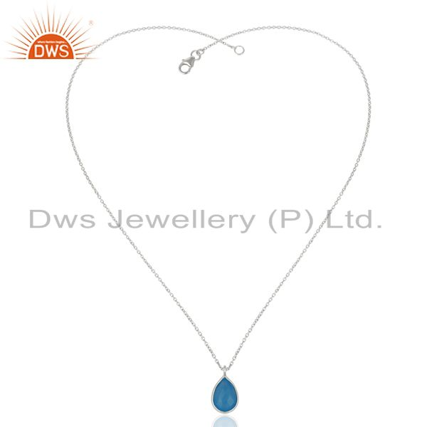 Suppliers 18K Yellow Gold Plated Handmade Dyed Chalcedony Bezel Set Chain Pendant Necklace